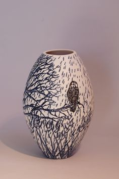 "Eunice Botes Ceramics - White Oval porcelain vase with blue and black  sqrafftio - ""Rain in the Forest"""