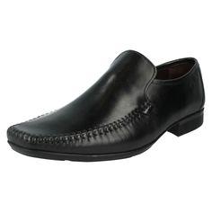 fdf3458065e Mens Clarks Ferro Step Black Leather Smart Loafer Style Slip On Shoes G  Fitting