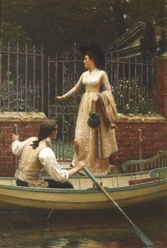"""Though Edmund Blair Leighton is probably best known for his Regency and Medieval historical paintings, his 1893 painting The Elopement is neither.  Instead, it is a late 18th-century scene, probably depicting the 1790s—as evidenced by the couple's dress, especially the man's clubbed ponytail and the woman's """"pouter-pigeon"""" dress front (the phrase refers to the gathers of cloth on the bodice)."""