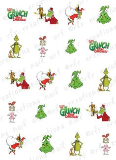 20 Christmas Nail Decals THE GRINCH Themed by RLRCreationsNailArt, $2.25
