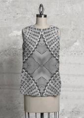 Sleeveless Top - Retro Bw Sleeveless Top in Black/Grey/White by VIDA Original Artist Grey And White, Crochet Top, High Low, Dress Up, Blazer, Retro, Blouse, Unique, Shopping
