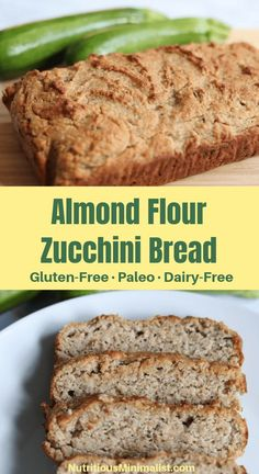 This zucchini quick bread is gluten-free, paleo and dairy-free. Perfect for breakfast, an afternoon snack, or when youre craving baked goods but want a healthier version. Healthy Bread Recipes, Healthy Sweet Snacks, Dairy Free Recipes, Whole Food Recipes, Healthy Desserts, Gluten Free Snacks, Quick Recipes, Healthy Foods, Dairy Free Zucchini Bread