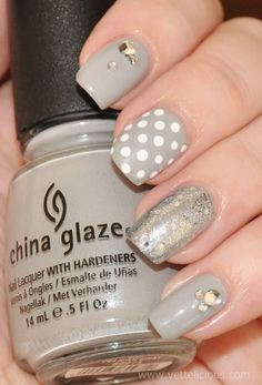 A Rainy Manicure using China Glaze - Pelican Grey - flash