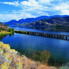 The Old Kettle Valley Railroad Bridge over Okanagan Lake. Get away to B.C.'s Okanagan Valley - Sunset