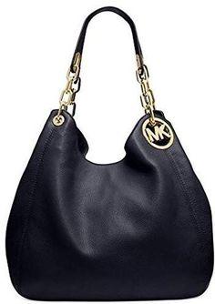 35501a88dc1108 Michael Kors Women's Large Fulton Shoulder Tote Leather Top-Handle Bag Hobo  - Black #affiliatelink