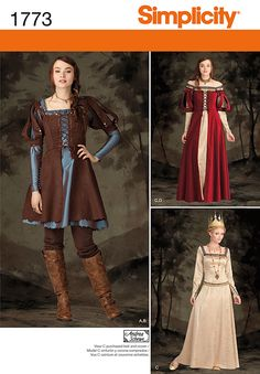 1773 Misses' Costume Misses' medieval dress in two lengths has square neckline and flared skirt. Underdress A, C has back zipper, long sleeve and ruched or trimmed neckline. Overdress B, D has front lacing and short puffed sleeves.