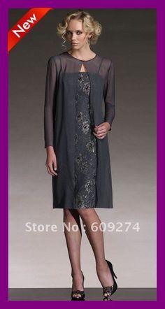 Free Shipping 2012 Spaghetti Long Sleeve Chiffon Lace Knee Length Elegant Mother…