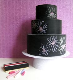 "Chalkboard ""cake"" for kids to decorate. Both my kids would be wild for this! From Jeromina Juan of Paper, Plate, and Plane"