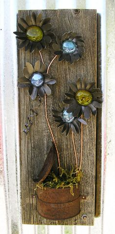 Rustic Floral Wall Art,Home Decor, Flower Wall Hanging, Metal Art, Reclaimed Wood, Home Decor, Glass Flowers, Rustic Home Decor by RusticSpoonful on Etsy