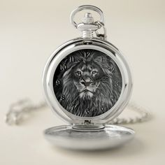 Shop Majestic Gray Lion Pocket Watch created by ManCavePortal. Cat Girl Costume, Cat Costumes, Costume Halloween, Personalized Pocket Watch, Lion Cat, Pusheen Cat, Personal Shopping, Make A Gift, Cool Watches