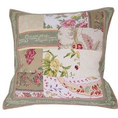 French Old World Design Patchwork pillow cover with insert. This patchwork pillow cover consists of old World toile style fabrics. It can be placed on a chair as a seat cover, on a sofa or a bed as an accent. You will receive one.17 by 17 inches