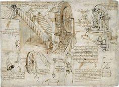 LEONARDO DA VINCI, Vite d'Archimede e ruote d'acqua penna, tracce di matita nera, 408 x 284 mm. Milano, Veneranda Biblioteca Ambrosiana, CA f.