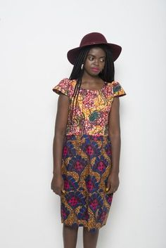 Mixed-print dress by 18 Forever.   #AfricanFashion #AfricanStyle #EthnicFashion #EthnicStyle #GoEthnic #WaxPrint
