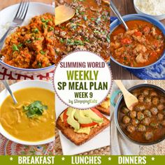 Diet Plans Slimming Eats SP Weekly Meal Plan - Week 9 - Slimming World - taking the work out of planning so that you can just cook and enjoy the food. Sp Meals Slimming World, Slimming Eats, Sp Recipes Slimming World, Slimming Word, Dinner Recipes For Kids, Healthy Dinner Recipes, Diet Recipes, Savoury Recipes, Healthy Options