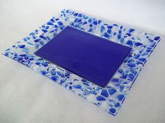 LARGE GLASS PLATE - Cobalt Blue Fused Glass Plate with Handcut Pebble Rim, Signed, Includes Stand