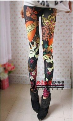 East Knitting A46 Women Vintage skull clothes stretchy skeleton printed  tattoo Skinny Jeans Leggings