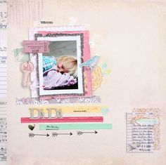 Di Di - by Angie Gutshall using the Dear Lizzy 5th  Frolic collection from American Crafts. #scrapbooking #dearlizzy #americancrafts #layout #paper