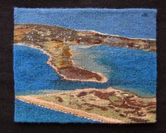 "Handwoven tapestry by Janet Austin, 8x9"" ""Over Block Island"""
