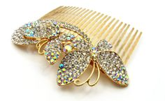 Swarovski Crystal Gold Wedding CombWedding Hair by crystaljemscouk