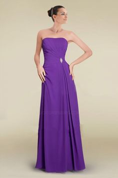 A-Line Strapless Purple Long Chiffon Prom Evening Formal Bridesmaid Dresses ED010882