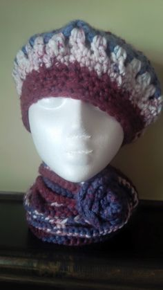 Warm hat and scarf set, hat is the tam or beret style and the scarf is a crochet necklace scarf which can be wrapped around the neck to suit personal style and tastes. Hat And Scarf Sets, Handmade Items, Handmade Gifts, Large Flowers, Flower Making, Crochet Necklace, Crochet Hats, Trending Outfits, Unique Jewelry