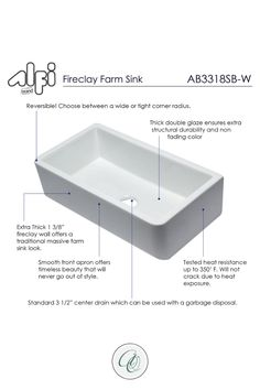 Explore farmhouse kitchen sinks and decor at www.annieandoak.com. Shop for 33-inch White Smooth Solid Thick Wall Fireclay Single Bowl Farmhouse Sink by Alfi Brand now. This sink is reversible so you can decide on the spot which side to install exposed. The difference between them is the corner radius. One is rounded and the other has a sharper edge, it's a matter of taste and the choice is yours with this reversible sink. Visit us at www.annieandoak.com for more kitchen sinks and tools. Fireclay Farmhouse Sink, Farmhouse Sink Kitchen, White Kitchen Cabinets, Kitchen Decor, Kitchen Design, Best Kitchen Faucets, Farm Sink, Coffee Staining, Fade Color