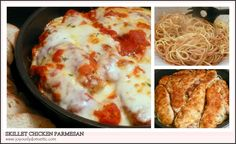 Skillet Chicken Parmesan Over Pasta. We did not have pasta. Just the chicken and sauce! Skillet Chicken Parmesan, Parmesan Pasta, Entree Recipes, Cooking Recipes, Pan Cooking, Skillet Cooking, I Love Food, Good Food, Entrees