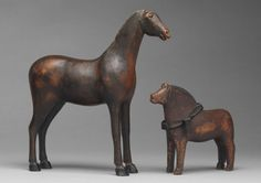 Two Early Primitive Toy Horses. Hand Carved and Painted Wood and Leather.  Swedish, c.1830 - c.1860