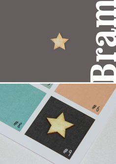 Stoere kaart, opvallend door een ster van echt hout. Het geboortekaartje krijgt karakter door te kiezen voor één van de bijzonder papiersoorten: bijvoorbeeld linnen of vergé papier | jongen | uniekkaartje.nl