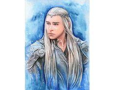 Original Painting  Portrait of the Elven King signed art elf