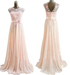 Long Lace Dress with Half Sleeves by Sally Fashion - Peach ...