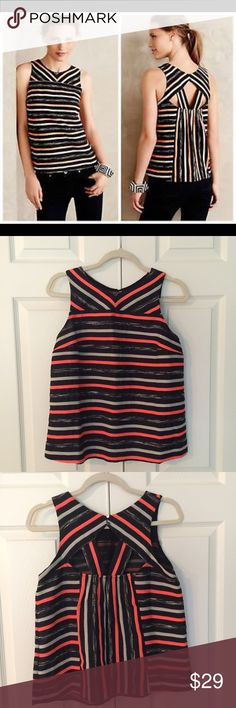 "🆕 Anthropologie Striped Ribbon Top super fun pop of color in this striped ribbon top from HD in Paris for Anthropologie. features unique cut out detail on back and double button closure at back of neck. 63% poly, 17% rayon, 11% acrylic, 7% cotton, 2% nylon with 100% poly trim. size 6. bust flat is 18"", length is 22.75"". excellent condition - worn just twice. Anthropologie Tops"