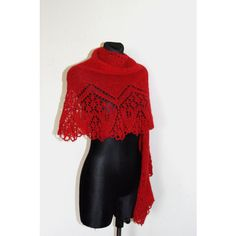 Red Hand Knit Lace Shawl, Knit Lace Wedding Shawl, Womens Hand Knitted... (420 PLN) ❤ liked on Polyvore featuring accessories, scarves, hand knitted scarves, hand knit scarves, lace shawl, knit scarves and shawl scarves