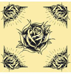 Roses and frame tattoo style design vector - by 13UG13th on VectorStock®