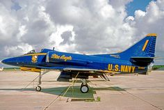 A-4F Skyhawk of the Blue Angels US Navy aerobatic team in 1975.