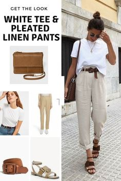 Get the look: white tee and pleated linen pants - Cheryl Shops pants Get . Get the look: white tee and pleated linen pants - Cheryl Shops pants Get the look: white tee and pleated linen pantsLinen Pants Black, Linen Pa. Linen Pants Outfit, White Pants Outfit, Beige Outfit, Linen Pants Women, Mode Outfits, Chic Outfits, Fashion Outfits, Fashion Tips, Ladies Fashion