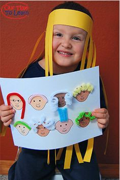 Learn about hair while working on fun crafts! From the Our Time to Learn blog - human body science for preschool, kindergarten, 1st grade, home school.