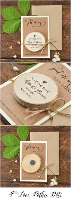 Save the Date with wooden magnet – great price! 4lovepolkadots #sponsored