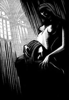 "Linocut illustrations for Gustav Meyrink's novel ""Walpurgisnacht"""