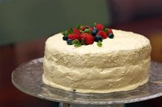 Chocolate Layer Cake with Bavarian Cream - Chocolate Layer Cake with Bavarian Cream & Berries - you won't believe it's low fat!