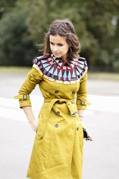 statement mustard trench coat