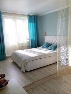 Зонирование однокомнатной квартиры, интерьер в голубых тонах, голубая спальня   Идеи для ремонта
