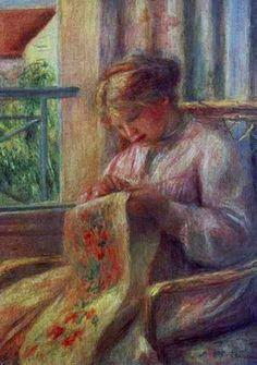 Pierre Auguste Renoir (1841-1919) Woman Sewing at the Window (detail), 1900