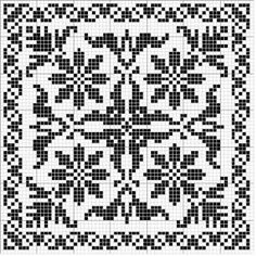 Square 16   Free chart for cross-stitch, filet crochet   Chart for pattern - Gráfico