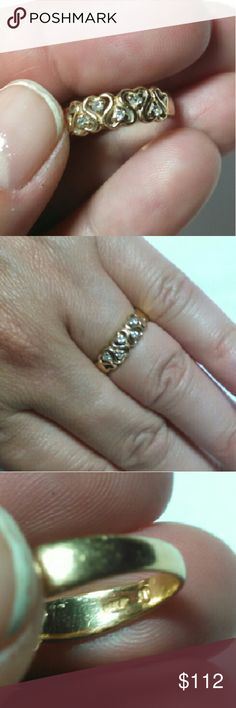 14K diamond heart band ring Solid 14 k gold band with 5 natural round diamonds 1.35mm round. Size 5.75. 2 2.4 g  Selling at today's gold spot price so price is FIRM.   Basically that means that this is the price (including Posh's fee) that I will get scrapping it for the gemstone(s) with my diamond dealer and for the gold at my county refinery. But this piece of jewelry is NOT scrap, it is a lovely ring that needs a new home so it won't get melted down this week.  Price cheaper on Mercarri…