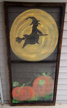 Halloween Witch & Pumpkins I just Painted on Vintage Screen. $45.00, via Etsy.