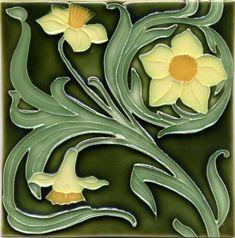"""Tile V34B - Reproduction Art Nouveau Tile  - porteous nz - Tiles are aprox. 150mm x 150mm (6"""" x 6"""") or 150mm x 75mm (6"""" x 3"""")."""