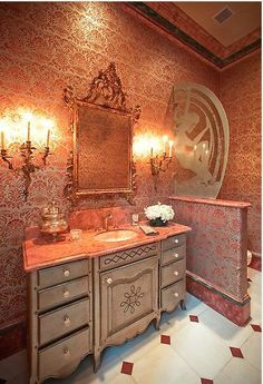 A glamorous bathroom with the mirror as an accent piece