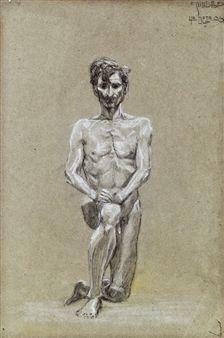 Knieender Männerakt By Egon Schiele ,1906