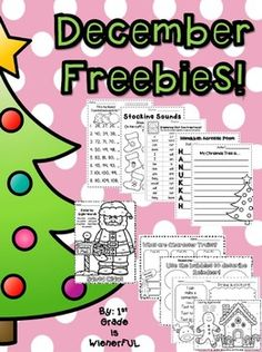 December worksheets:  14 pages of FREE printables, literacy center ideas & graphic organizers. K-2nd.